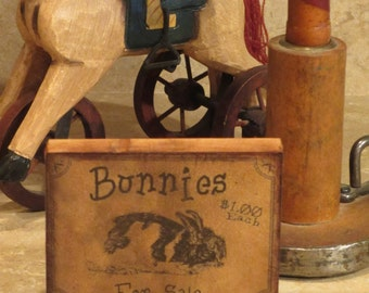 Wood block with Vintage Easter Bunny Rabbit Sign