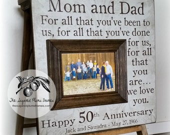 Rustic 50th Anniversary Gifts, For All That You Have Been To Us, Parents Anniversary Gift, Anniversary Frame, 16x16 Sugared Plums Frames