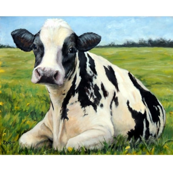Holstein cow farm animal art print of original painting by for Cow painting print