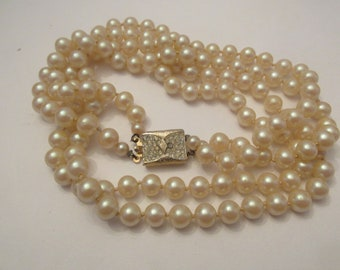 Stunning Vendome Vintage Signed Double Strand  Knotted Glass Pearls with Rhinestone Clasp
