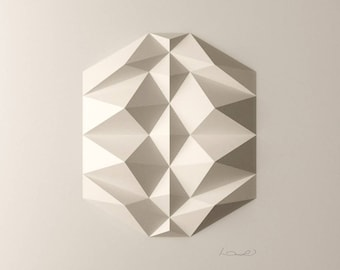 Folded Paper Origami-White Geometric Wall Decoration-Relief-Modern Geometric Abstract Sculpture-by Kubo Novak-DodecaR1
