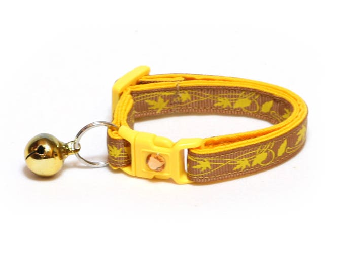 Fall Cat Collar - Yellow Leaves on Brown - Small Cat/ Kitten Size or Large Size Collar