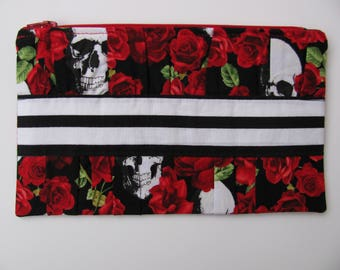 Skull and Roses Gathered Clutch Purse