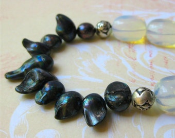 Moonstone and pearl necklace milky opal style beads and gunmetal baroque pearls