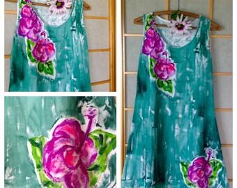 Hand Painted Clothing Woman Dress Cotton Cover Up Plus Size Fashion Floral Dress Kauai Hawaii Dress