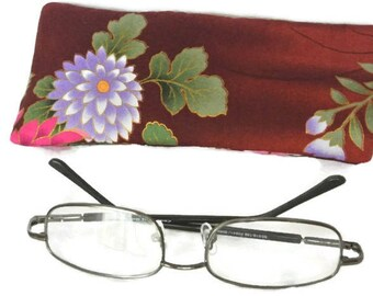 Reading Glasses Case , Floral Eyeglasses Sleeve , Oriental , Soft Sunglasses Pouch , Gift for Her , Womens Gift