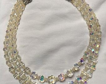 Vintage 3 Row Aurora Borealis Crystal bead necklace 1950 to 1960s adjustable length