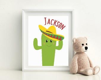 "Nursery Decor Cactus, Cactus Print, Bedroom Decor for Boys, Cactus Name Print, Cactus Printable, Wall Decor 8""x 10"" digital file/printable"