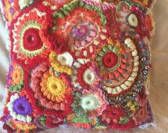 Fun in the Sun Freeform Crochet Pillow