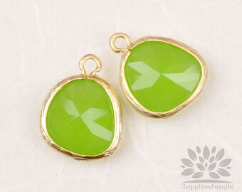 F102-MG-JD// Matt 16k Gold Plated Framed Jade Pendant, 2pcs