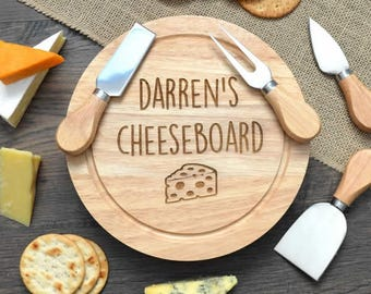 Personalised Wooden Cheeseboard - Engraved Name With Knife Set Cheese Lover Gift