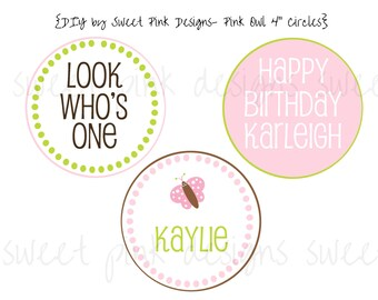 """Printable 4"""" Party Circles- Pink Owl Party Collection"""