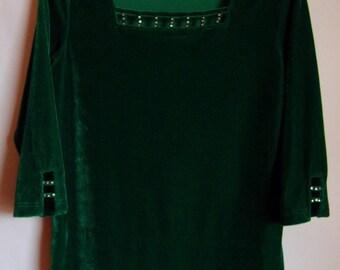 Vintage 80s 90s Womens Jumper/ Green Velvet Jumper/ 3/4  Sleeve/Glass Beads/ Elegant Women Jumper/ Party Pullover/ Size M/ Uk  12