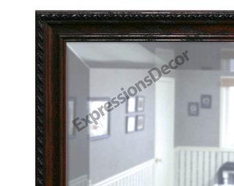 Custom Walnut Rope Decorative Wood Wall Mirror - Beveled Glass - FREE SHIPPING