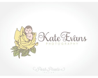 Logo Design (Premade) Newborn Photography, Baby Logo, Photography logo, Infant logo, Rose Logo, Hand Drawn Logo, Flower Logo