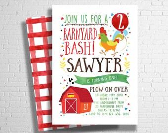 Barnyard Bash Birthday Invitation  Farm Birthday Invitation   Farm Animal Birthday Invite   Rooster, Pig, or Cow   DIGITAL FILE ONLY