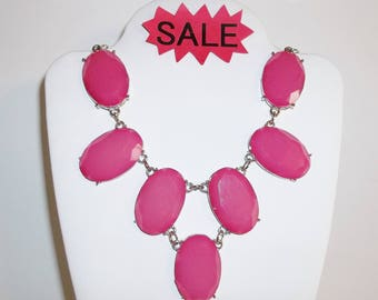 Bib Necklace Statement Piece Pink and Silver Costume Jewelry Fashion Accessory Prom Beauty Pageant Evening Wear Bridal Wedding wvluckygirl