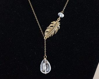 Lariat Necklace - Teardrop Clear Quartz Necklace - Bronze Leaf Lariat Necklace, Chakra Stone Yoga Necklace, Crystal Healing Pendant