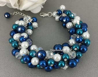 Navy and Teal Wedding Teal and Navy Cluster Bracelet Bridesmaids Gift Bridesmaids Bracelet Navy Teal Pearl Bracelet Bridesmaid Jewelry
