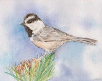 Chickadee Painting, Original Painting, Mountain Chickadee