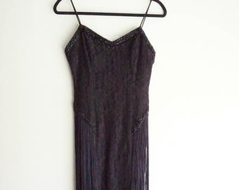 Gorgeous Vintage New Leaf 1920's style Dress, 80's, Flapper, Beaded and Fringed