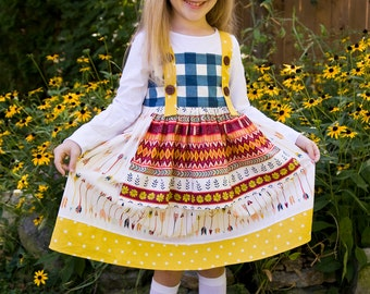 Wild and Free Apron Dress. Perfect for Fall.  Toddler and Girls sizes 2T, 3T, 4T, 5T.