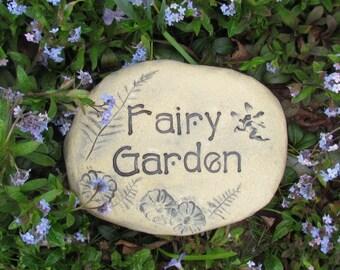 Fairy Garden entrance sign. Fairies plant marker, outdoor decor. Handmade pottery. Rock-like Stone / Brick. Enchanted forest sign