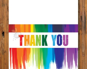 Art Party Thank You Notes - Thank you for making my birthday a masterpiece thank you card - Item 0125TY