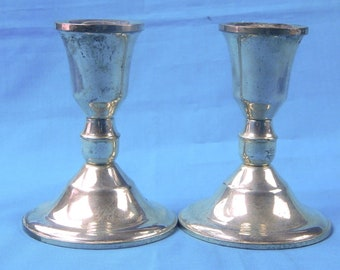 Set of 2 Vintage Sterling Silver Candle Candlestick Holder Home Decor Gift for Her