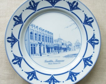 Franklin Tennessee Plate, Main Street IV in Blue and White Porcelain