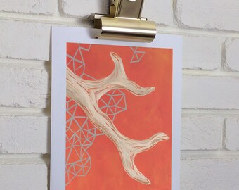 Bright color print, Antler art, Geometric pattern, Orange art print
