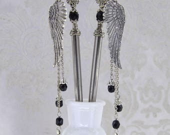 Fallen - Gothic Angel Hair Sticks - Gothic Victorian Statement hairsticks - Hematite, White, and Jet Black - Multiple colors available