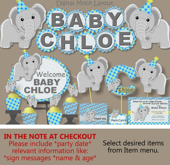 Boy Blue Elephant Baby Shower Decorations Or First 1st