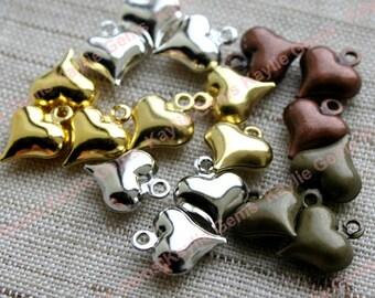 3D Brass Heart Charms Cute Small Fun Love Loving 11mm, Gold, Silver, Platinum, Raw Brass, Antique Brass, Antique Copper - 12pcs