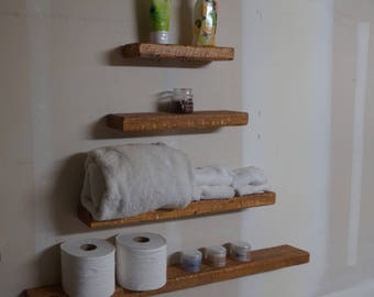 Rustic farm house reclaimed wood style floating shelves (3 set) plus 1 free 12in