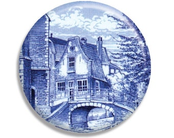 LIQUIDATION SALE! Delft Dutch Art Countryside Holland Pocket Mirror, Magnet or Pinback - 2.25""