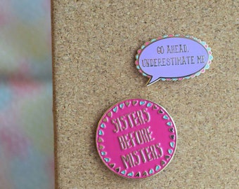 Sisters Before Misters, Girl Boss  two pin set.
