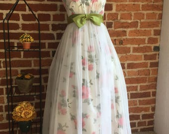 60's Floral Print With Sheer Overlay Special Occasion Dress
