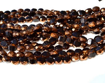 Black and Bronze 8mm Faceted Coin Czech Glass Beads  25