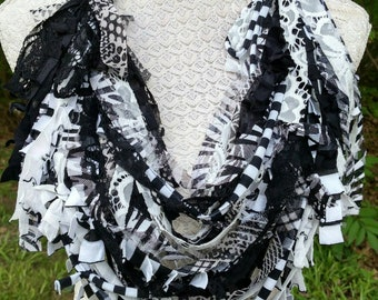 CLASSICAL MELODY-Upcycled Scrappy Scarf-Recycled Remnants