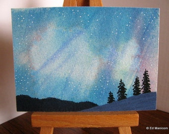 MATTED ACEO Plasma Curtain, Northern Lights Original Watercolour Painting. (Small Format Art) Includes 5x7 or 8x10 Mat or Mount