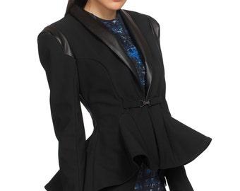 Womens Blazer, Fitted Blazer, Peplum Top, Plus Size Jacket, Blazer Jacket, Fashion Blazer, Formal Blazer, Black Blazer, Elegant Women Blazer