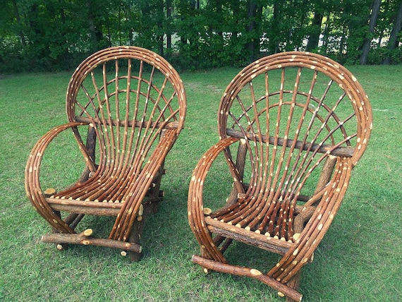Captivating Two Handmade Fan Back Willow Chairs