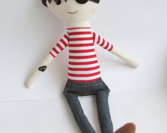 Handmade pirate cloth doll eco friendly fabric textile rag _Made to order_ tattoo red stripes brown sea warrior boy sailor stuffed toy gift