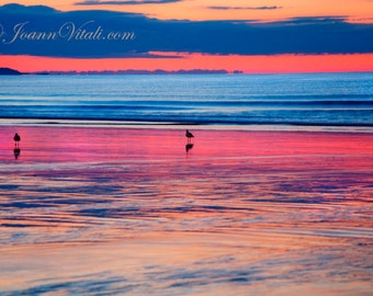 Ocean Sunrise, Ocean Sunset, Beach Photography, Old Orchard Beach, Maine photography, Sunrise Print, New England Seacoast, Beach Decor, Pink