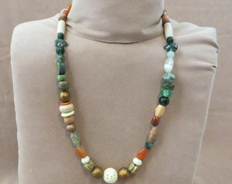 "Natural elements 30"" Long Beaded Necklace Handmade Coppery & Greens Unique OOAK"
