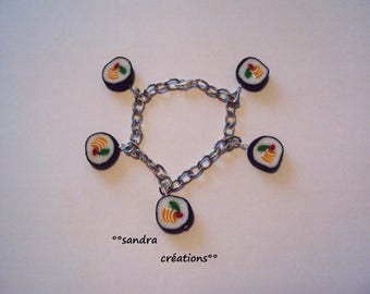 Japanese maki sushi charm bracelet