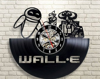 Wall E Vinyl Record Wall Clock Birthday Gift For Kids Wall E Clock Children Room Decore Wall E Disney Cartoon Art Wall Clock Large
