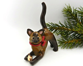 Burmese Siamese Cat Porcelain Christmas Ornament Figurine Gold Ball