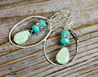 Turquouse dangle earrings, bridesmaid earrings, minty green jewelry, Sterling silver earrings, sparkly earrings, dangle bridemaid earring